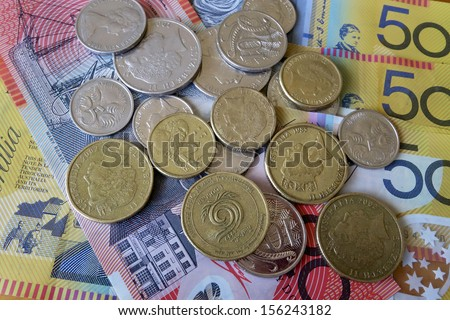 Australian Notes and Coins - stock photo