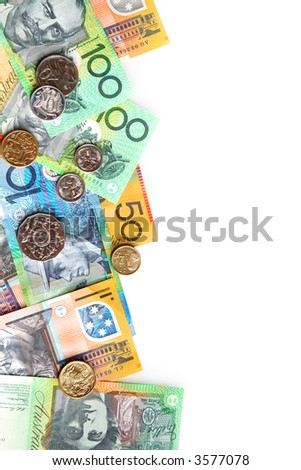 Australian notes and coins form a border on white.
