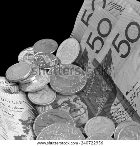 Australian Notes and Coins in black and white - stock photo