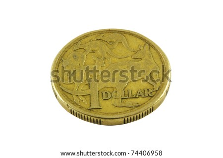 Australian old one dollar coin over white surface - stock photo