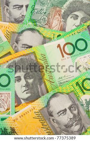 Australian One Hundred Dollar ($100) Banknotes Background - stock photo