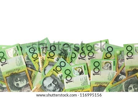 Australian one hundred dollar bills over white background. - stock photo