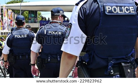 Australian police line up at G20. The 12th to the 16th of November will see Brisbane playing host to the G20 Summit. Brisbane, Queensland, Australia. 11 November 2014.  - stock photo