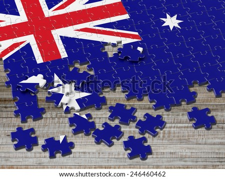 Australian Puzzle Flag with horizontal wood - stock photo