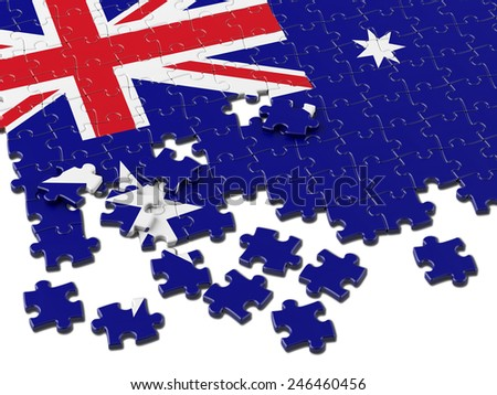 Australian Puzzle Flag with white - stock photo