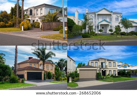 Australian residential houses collage - stock photo