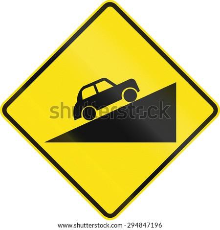 Australian road warning sign - uphill grade - stock photo
