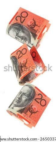 Australian twenty dollar notes falling, isolated on white. - stock photo