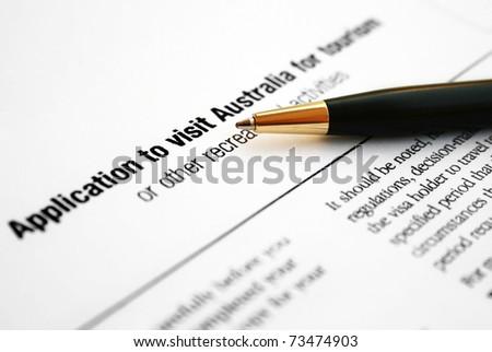 Australian visa form - stock photo