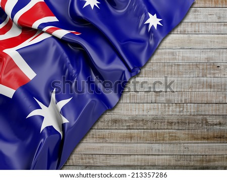 Australian Wavy Flag with - stock photo