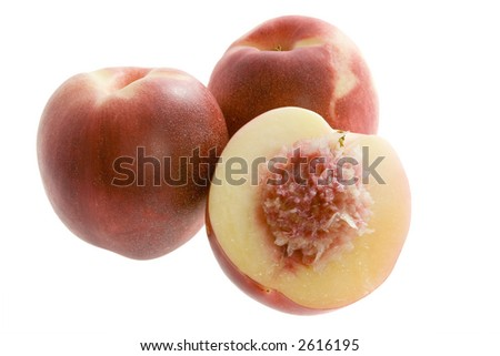 Australian white flesh nectarine isolated on white background