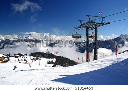austria alpen in winter - stock photo