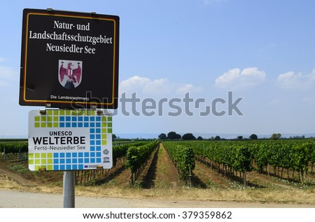 Austria, board with description of nature preserve in Burgenland