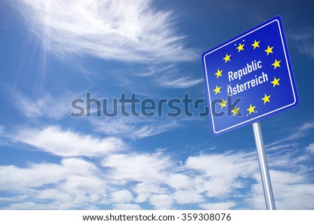 Austria Border Sign with clouds sky. 3D Rendering - stock photo