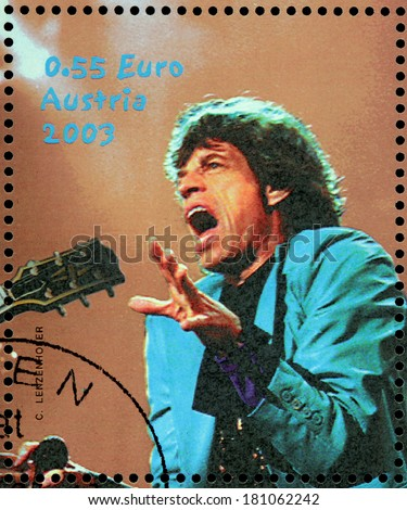 AUSTRIA - CIRCA 2003: A stamp printed by AUSTRIA shows image portrait of  famous English musician, composer, singer and songwriter Mick Jagger, circa 2003. - stock photo