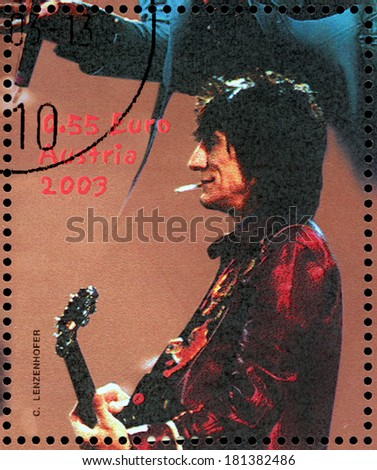 AUSTRIA - CIRCA 2003: A stamp printed by AUSTRIA shows image portrait of  famous English musician, composer, singer and songwriter Ronald David (Ronnie) Wood, circa 2003. - stock photo