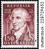 AUSTRIA - CIRCA 1959: A stamp printed by AUSTRIA shows portrait of a prominent and prolific composer of the Classical period (Franz) Joseph Haydn known as Father of the Symphony, circa 1959. - stock photo