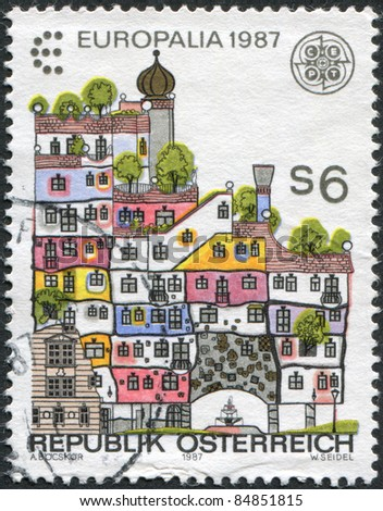 AUSTRIA - CIRCA 1987: A stamp printed in Austria, devoted to the festival of culture EUROPALIA-87, shows a Hundertwasser House, Vienna, circa 1987