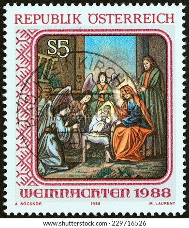 "AUSTRIA - CIRCA 1988: A stamp printed in Austria from the ""Christmas "" issue shows Nativity (St. Barbara's Church, Vienna), circa 1988.  - stock photo"