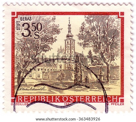 "AUSTRIA - CIRCA 1984: A stamp printed in Austria from the ""Monasteries and Abbeys"" issue shows Geras Monastery, circa 1984."
