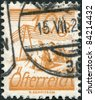 AUSTRIA - CIRCA 1925: A stamp printed in Austria, is depicted Fields Crossed by Telegraph Wires, circa 1925 - stock photo