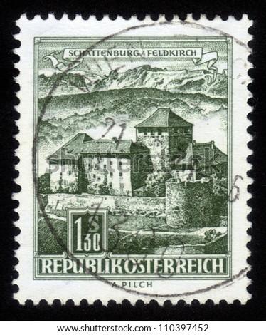 AUSTRIA - CIRCA 1967: A stamp printed in Austria, is shown Schatten Castle, Feldkirch, Vorarlberg, circa 1967 - stock photo