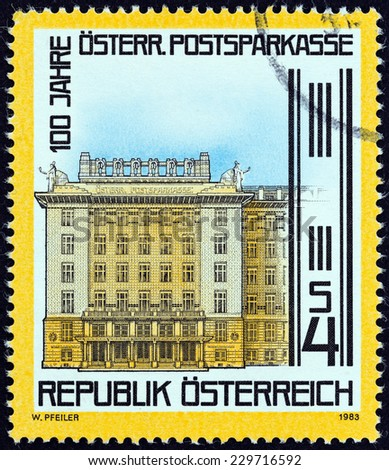 AUSTRIA - CIRCA 1983: A stamp printed in Austria issued for the centenary of Postal Savings Bank shows Bank, Vienna, circa 1983.  - stock photo