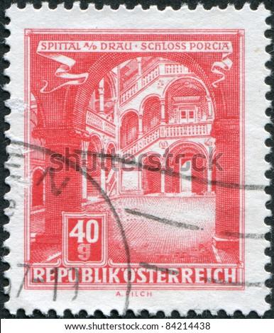AUSTRIA - CIRCA 1962: A stamp printed in Austria, represented Schloss Porcia (Porcia Castle) in Spittal an der Drau, circa 1962 - stock photo
