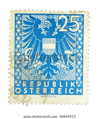 AUSTRIA - CIRCA 1945: A stamp printed in Austria showing eagle circa 1945