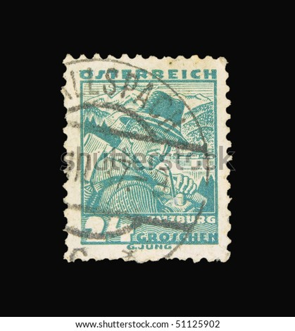 AUSTRIA - CIRCA 1937: A stamp printed in Austria showing farmer, circa 1937