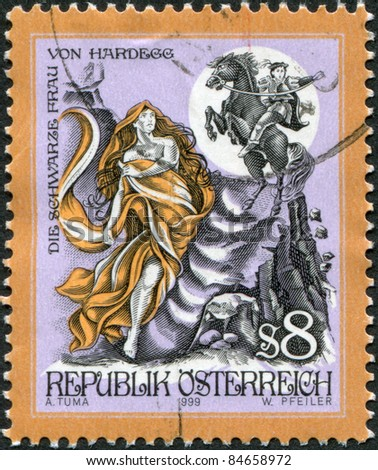 """AUSTRIA - CIRCA 1999: A stamp printed in Austria, shows an illustration of tales about the """"Black Woman from the Hardegg"""", circa 1999 - stock photo"""
