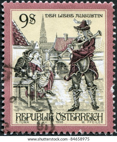 """AUSTRIA - CIRCA 1998: A stamp printed in Austria, shows an illustration of the Viennese song """"The Charming Augustin"""" (Oh du lieber Augustin), circa 1998 - stock photo"""