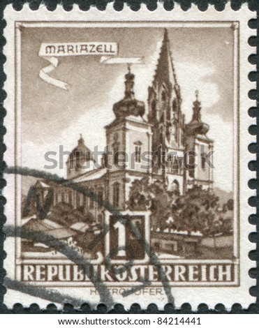 AUSTRIA - CIRCA 1960: A stamp printed in Austria, shows and Mariazell Basilica of the Birth of the Virgin Mary, circa 1960
