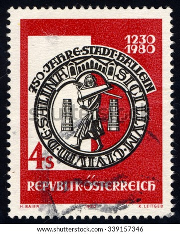 AUSTRIA - CIRCA 1980: A stamp printed in Austria shows City seal of Hallein (1230 - 1980), circa 1980 - stock photo