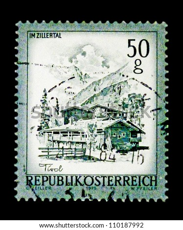"AUSTRIA - CIRCA 1975: A stamp printed in Austria shows image of Austrian landmark with the inscription ""Zillertal"", from the series ""Sights in Austria"", circa 1975."