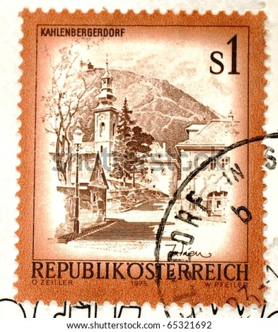 AUSTRIA - CIRCA 1975: a stamp printed in Austria shows image of Kahlenbergerdorf in Austria, circa 1975