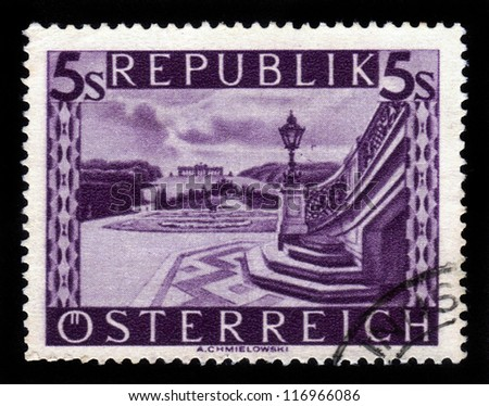 AUSTRIA - CIRCA 1948: A stamp printed in Austria shows image  of Schonbrunn palace gardens in Vienna , circa 1948