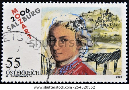 AUSTRIA - CIRCA 2006: a stamp printed in Austria shows image of Wolfgang Amadeus Mozart, circa 2006 - stock photo