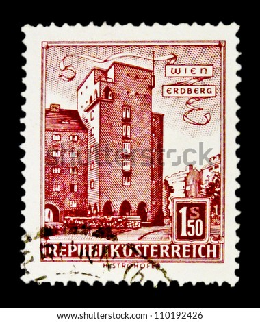 "AUSTRIA - CIRCA 1957: A stamp printed in Austria shows image Rabenhof Building, with the inscription ""Erdberg, Vienna"", from the series ""Buildings in Austria"", circa 1957"
