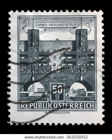 AUSTRIA - CIRCA 1959: A stamp printed in Austria shows Karl Marx Hof by Karl Ehn architect, at Heiligenstadt, Vienna, series, circa 1959 - stock photo