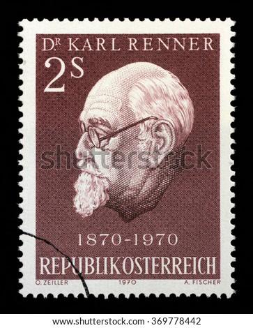 AUSTRIA - CIRCA 1970: A stamp printed in Austria shows Karl Renner (1870-1950), president of Austria, circa 1970 - stock photo