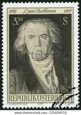 AUSTRIA - CIRCA 1970: A stamp printed in Austria shows Ludwig van Beethoven (1770-1827), composer, circa 1970 - stock photo