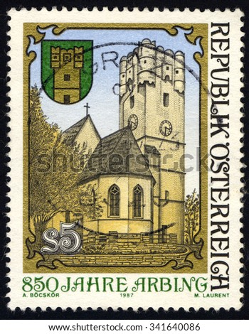 AUSTRIA - CIRCA 1987: A stamp printed in Austria, shows Parish church & fortified tower of Arbing & coat of arms, circa 1987