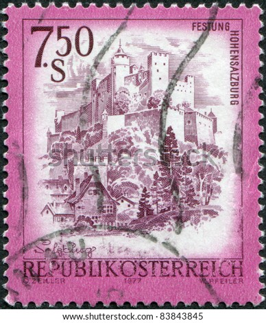 AUSTRIA - CIRCA 1977: A stamp printed in Austria, shows the Hohensalzburg Castle, circa 1977 - stock photo