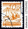 AUSTRIA - CIRCA 1925: a stamp printed in the Austria shows Fields Crossed by Telegraph Wires, circa 1925 - stock photo