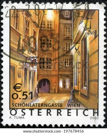 AUSTRIA - CIRCA 2002: a stamp printed in the Austria shows Schonlanterngasse, Austrian Scene, circa 2002 - stock photo