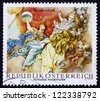 AUSTRIA - CIRCA 1968: a stamp printed in the Austria shows Symbolic Figures from The Triumph of Apollo, by Maulpertsch, Halbthurn Castle, circa 1968 - stock photo