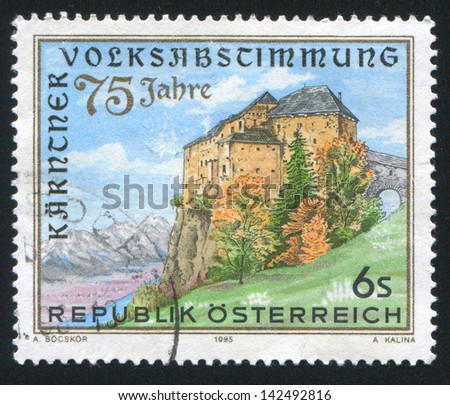 AUSTRIA - CIRCA 1995: stamp printed by Austria, shows castle, trees, circa 1995