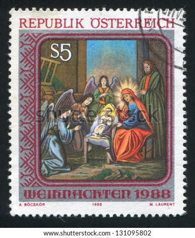 AUSTRIA - CIRCA 1988: stamp printed by Austria, shows Nativity painting from St. Barbara Church, circa 1988