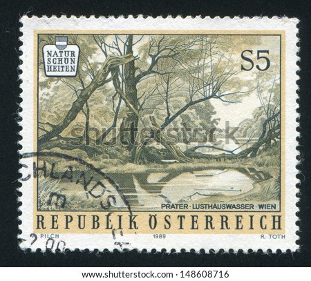 AUSTRIA - CIRCA 1989: stamp printed by Austria, shows water and trees, circa 1989